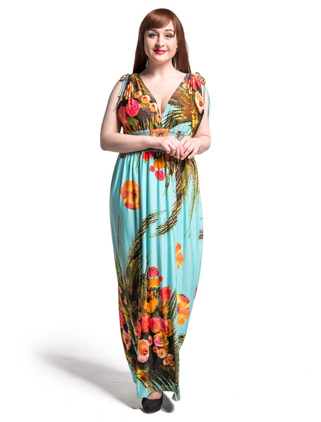 Robe longue de mousseline Maxi robe de la femme sans manches col en v impression Floral surdimension