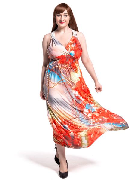 Boho Oversized Maxi Dress Chiffon Sleeveless V-neck Women's Long Dress фото