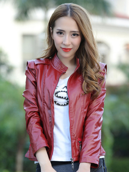 Women's PU Leather Jacket Long Sleeve Zipper Stand Collar Moto Jacket фото