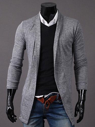 Мужские хлопок кардиган с длинным рукавом современные Fit пальто