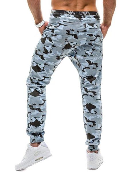Мужские спортивные штаны бегунов в синий/зеленый камуфляж