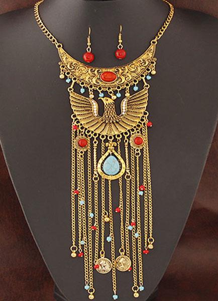 Ägypten-Anweisung Halskette Set Legierung lange Halskette mit Ohrringen