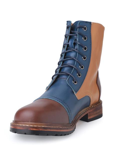 Мужские ботинки Мартин кружева контрастность цвет круглый Toe PU кожаные сапоги
