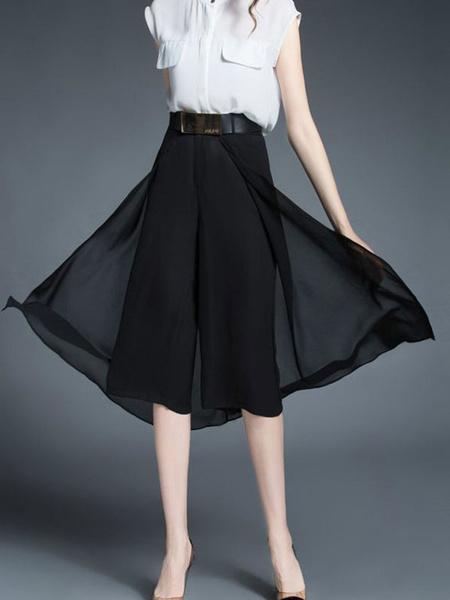 Черные сарафаны женские эластичные талии шик шелковые юбки