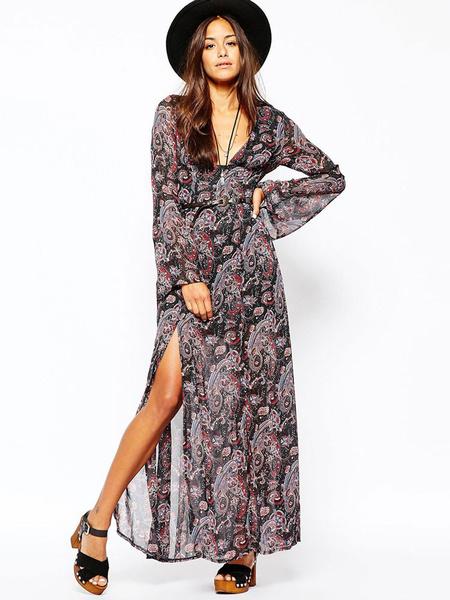 Long Sleeve Chiffon Maxi Dress In V Neck And High Split фото