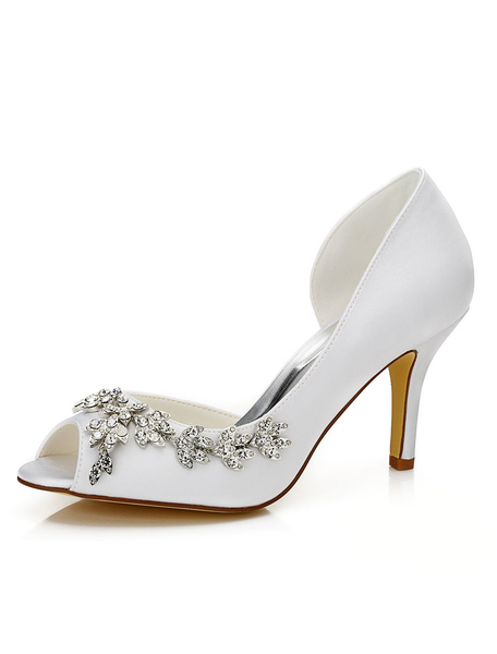 Peep Wedding Shoes White Jeweled Cut-out Slip-on High Heel Bridal Shoes фото