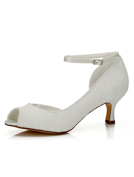 White Bridal Shoes Peep Lace Ankle Strap Kitten High Heel Wedding Shoes For Women фото