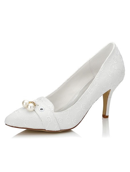 Ivory Wedding Shoes Pointed Pearls Lace Embroidered High Heel Bridal Shoes фото