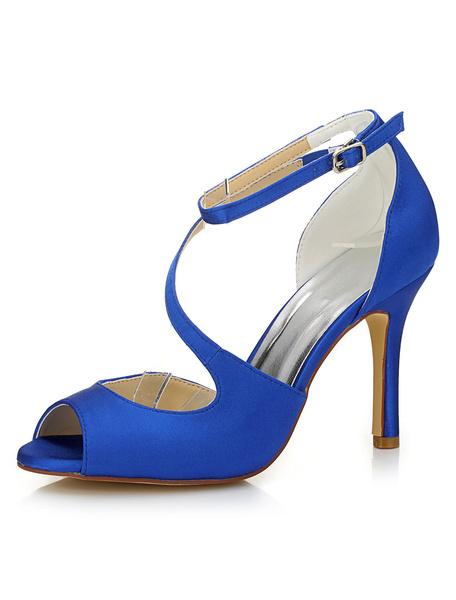 Sposa Blu Scarpe Peep scarpe donna Sandali tacco alto alla caviglia cinturino Stiletto raso nuziale