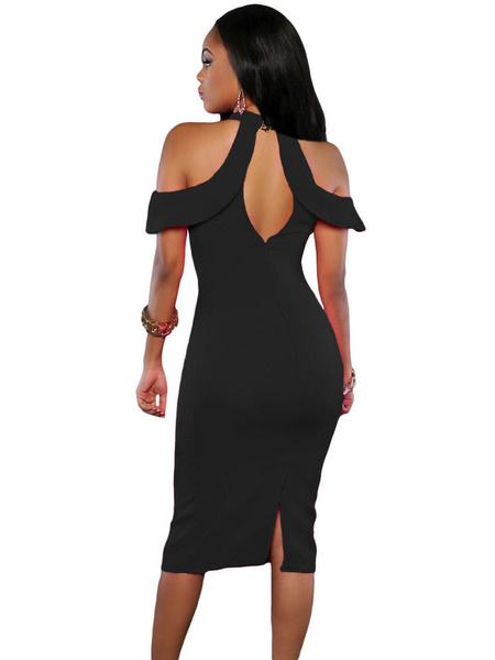 Milanoo / Club rosa roja ojo de la cerradura abierta hombro Split Sexy vestido Bodycon Vestido de mujer