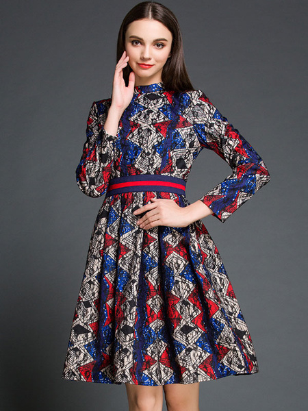 Lace Flare Dresses Women's Stand Collar Long Sleeve Jacquard Slim Fit Ruched Dresses фото