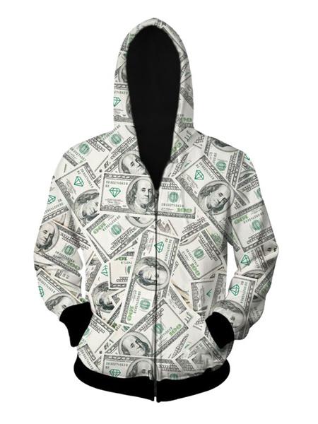 Gray Men's Hoodie Long Sleeve Hooded Polyester Irregular Artwork Jacket фото