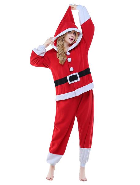 Kigurumi Pajama Santa Claus Onesie Red Unisex Flannel Clause Sleepwear Costume фото