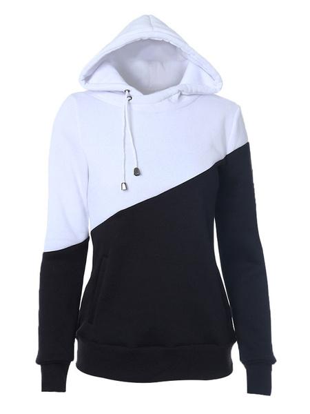 Women's Black Hoodie Long Sleeve Drawstring Two-Tone Hoodie фото