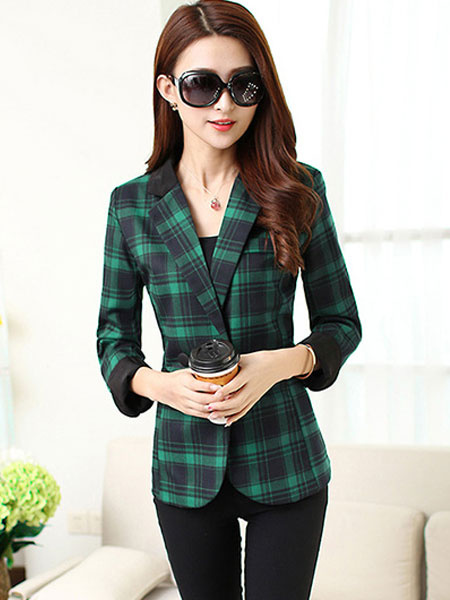 Women's Plaided Blazer Green Cotton Long Sleeve Notch Collar Button Jacket With Pockets фото