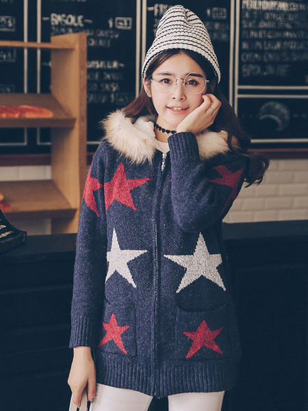 Women's Zipper Hoodie Cotton Stars Printed Long Sleeve Faux Fur Collar Hooded Jacket With Pockets