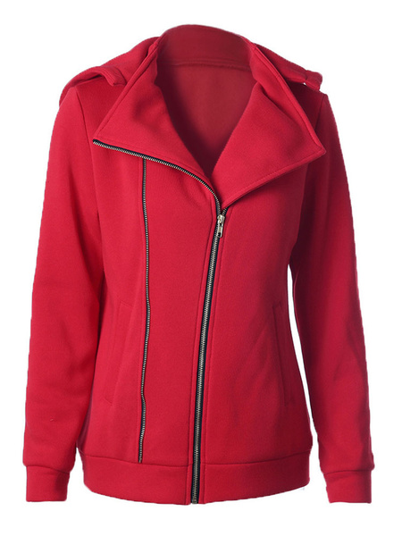 Women's Red Hoodie Oblique Zipper Removable Cotton Hooded Jacket фото