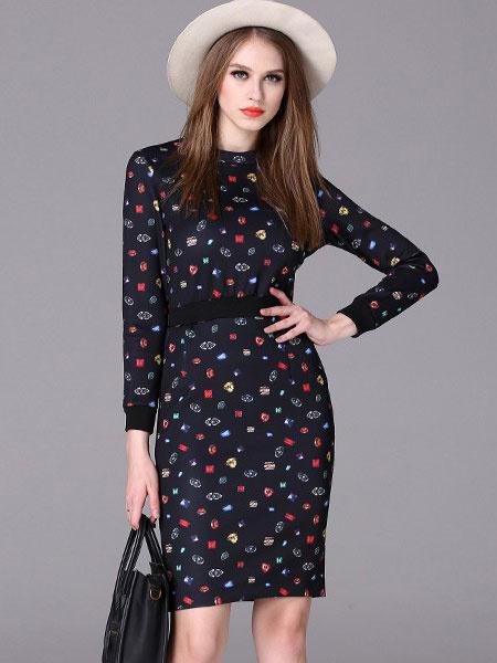 Black Bodycon Dresses Long Sleeve Back Zipper Printed Slim Dresses фото