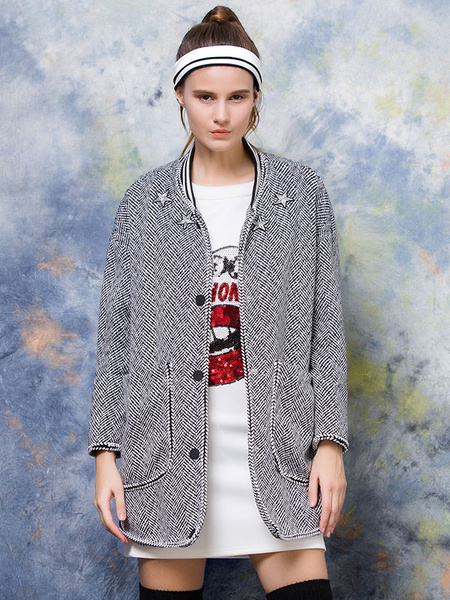 Women's Tweed Coat Button Long Sleeve Overcoat With Pockets фото