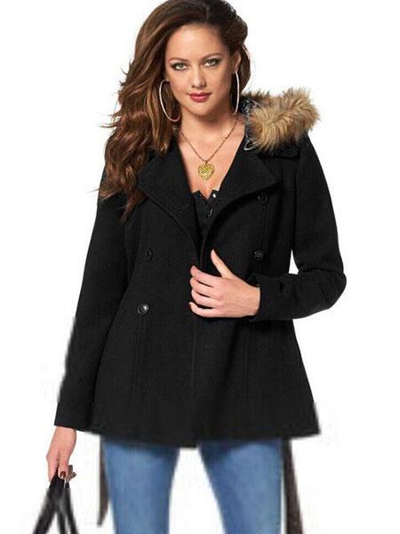 Image of Trench Coat Women Hoodie Faux Fur Collar Peacoat Winter Jacket For Women