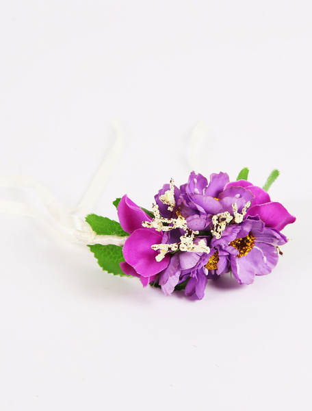 Purple Wrist Corsage Wedding Bridesmaid Flower Ribbons Handmade Prom Flower(8 X 12 X 5 Cm ) фото