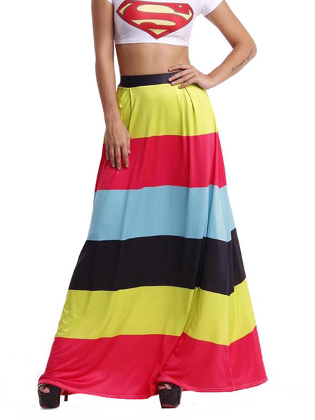 Stripes Maxi Skirts Women's Colorul Striped Long Skirts фото