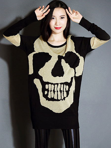 Women's Black Sweater Skull Printed Long Sleeve Pullover фото