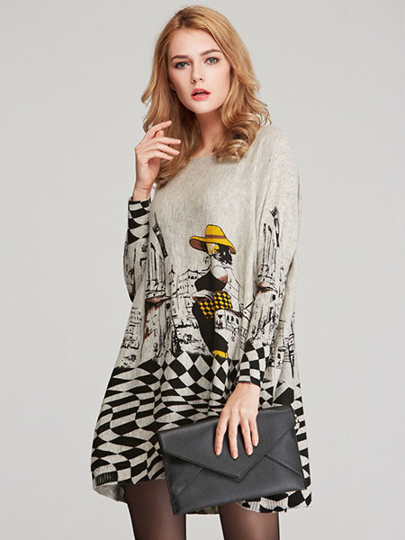 Gay Sweater Dresses Women's Long Sleeve Printed Cotton Knit Dresses фото