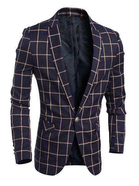 Men's Plaid Blazer Navy/Red Suit Jacket Slim Fit фото