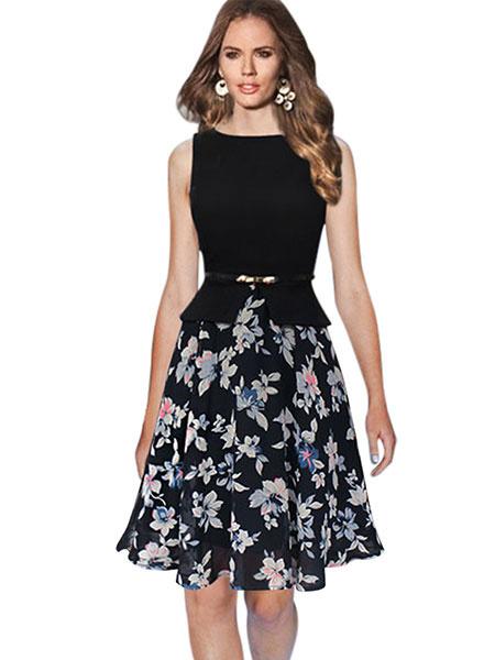 Mousseline de soie couleur bloc Patchwork Skater robe Slim Fit imprimé Floral sans manches évasée ro