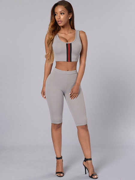 Gray 2-Piece Outfit Women's Sleeveless Slim Fit Crop Top With Pants фото