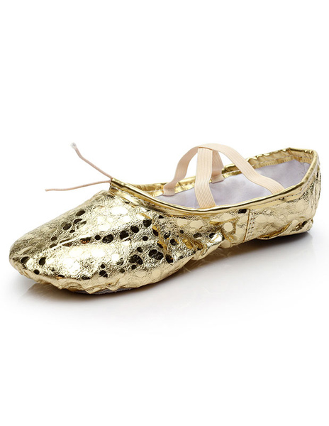 Gold Ballet Shoes Women's Slip-On Round Toe Criss-Cross Dance Shoes