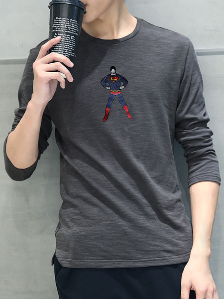 White/Gray T-shirt Long Sleeve Cartoon Character Fit Sweatshirts For Men фото