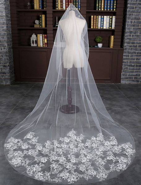 Lace One-tier Wedding Veil Ivory Tulle Drop Cut Edge Cathedral Bridal Veil With Comb
