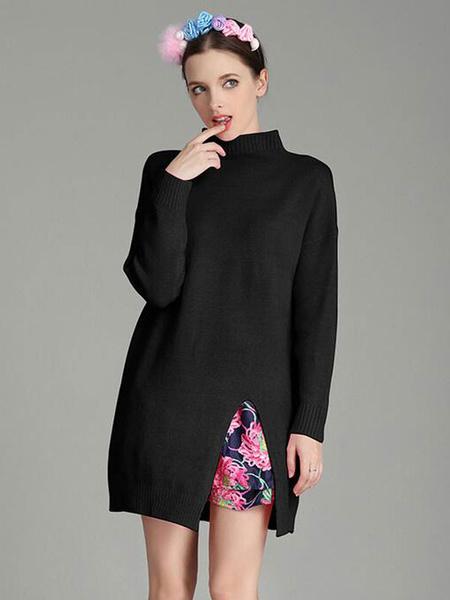 Вязанные Женские свитера с высоким воротником и разрезом сбоку цветочный принт пуловер кофты