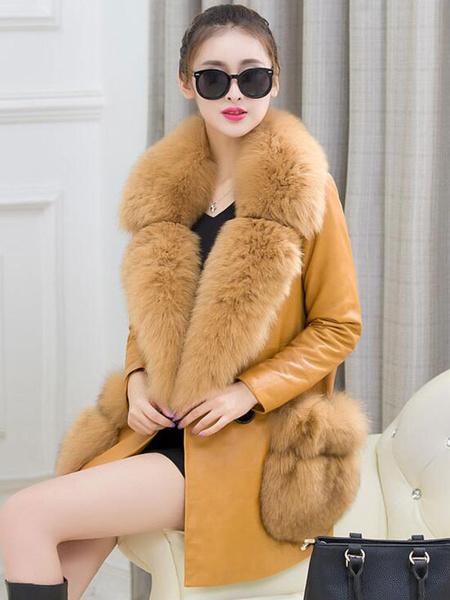 Milanoo / Manga larga amarillo PU cuero cobertura Collar botón abrigo chaqueta de piel falsa mujeres abrigo co