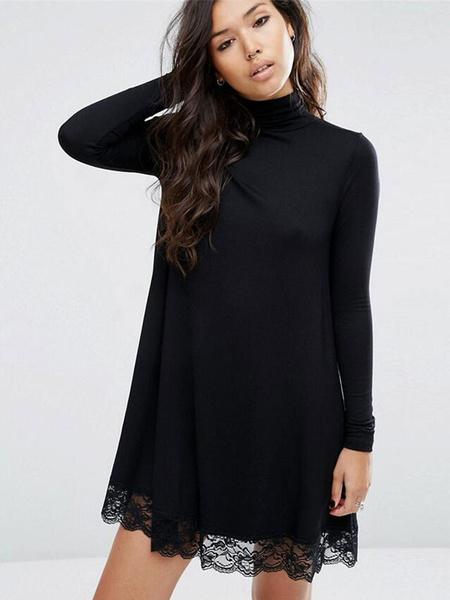 Black Sweater Dress High Collar Long Sleeve Lace Edge Women's Shift Knit Dress фото