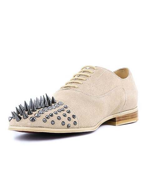 Suede Casual Shoes Men's Lace Up Round Toe Spikes Shoes фото
