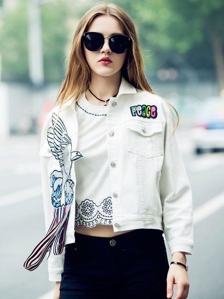 Bianco fantasia animalier Applique giacca corta di Denim giacca donna