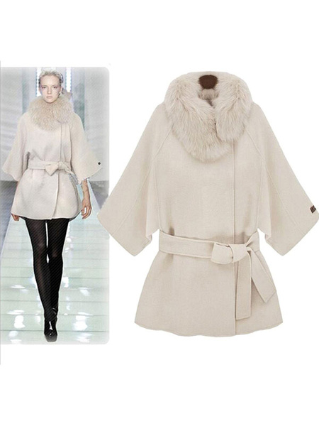 Women's White Coat Faux Fur Collar 3/4-Length Sleeve Belted Overcoat фото