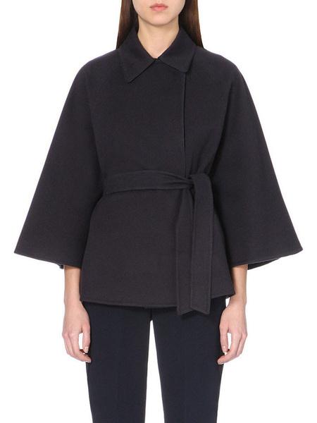 Women's Black Coat Half Sleeve Turndown Collar Belted Overcoat фото