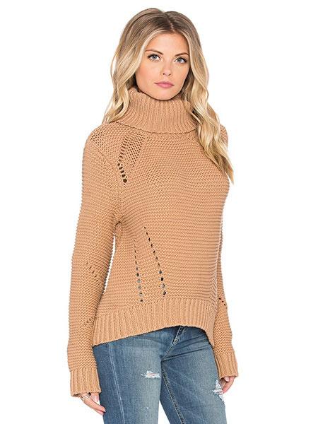Milanoo / Hoher Kragen Strickwaren Ausschnitte Slim Fit Pullover Damenpullover