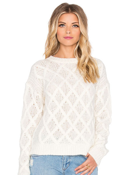 White Knit Sweater Grid Cut-Outs Women's Casual Pullover Sweaters фото
