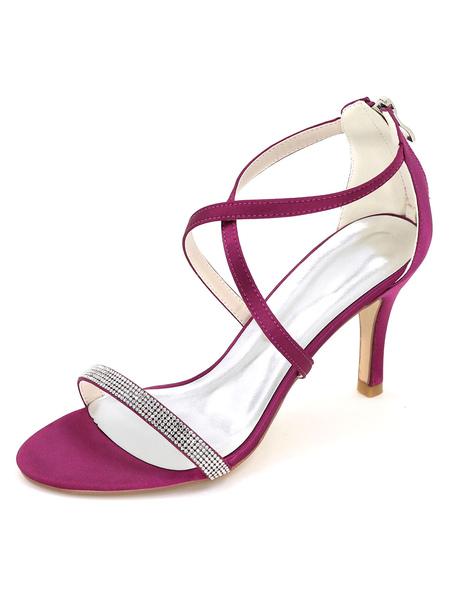 Scarpe da sposa donna scarpe da sposa in raso tacco alto sandali strass donne Stiletto