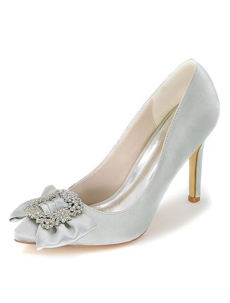 Nozze d'argento scarpe punta Slip-on a spillo scarpe da sposa tacchi alti donna