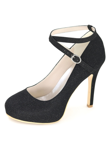 Black Wedding Shoes Platform High Heels Glitter Women's Ankle Strap Stiletto Bridal Shoes фото