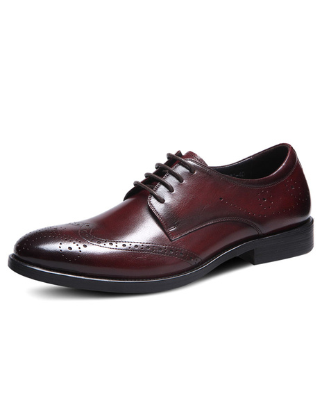 Men's Dress Shoes Round Toe Cowhide Brogue Shoes фото