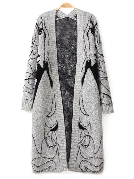 Gray Sweater Coat Women's Anime Characters Open Front Long Cardigan Coat фото