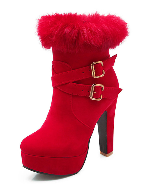Red Heel Booties Suede Platform Women's Faux Fur Zipper Buckle High Heel Short Boots Milanoo