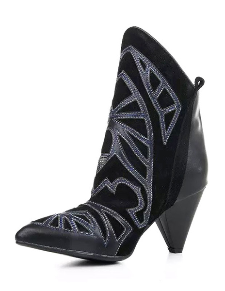 Black Leather Booties Women's Pointed Embroidered Tribal Style Short Boots фото